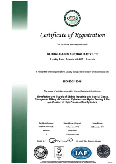 Global Gases Australia - ISO 9001 2